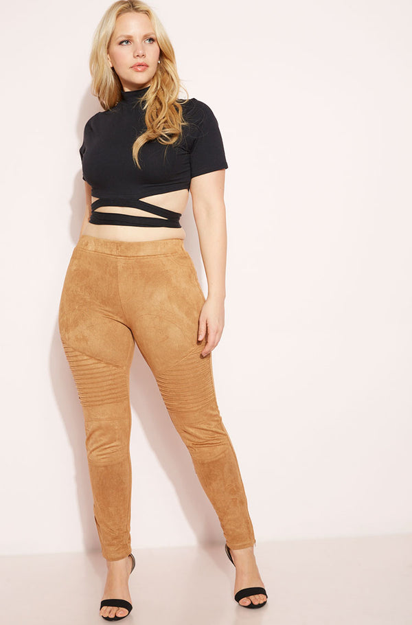 Walnut Suede Moto Leggings Plus Sizes
