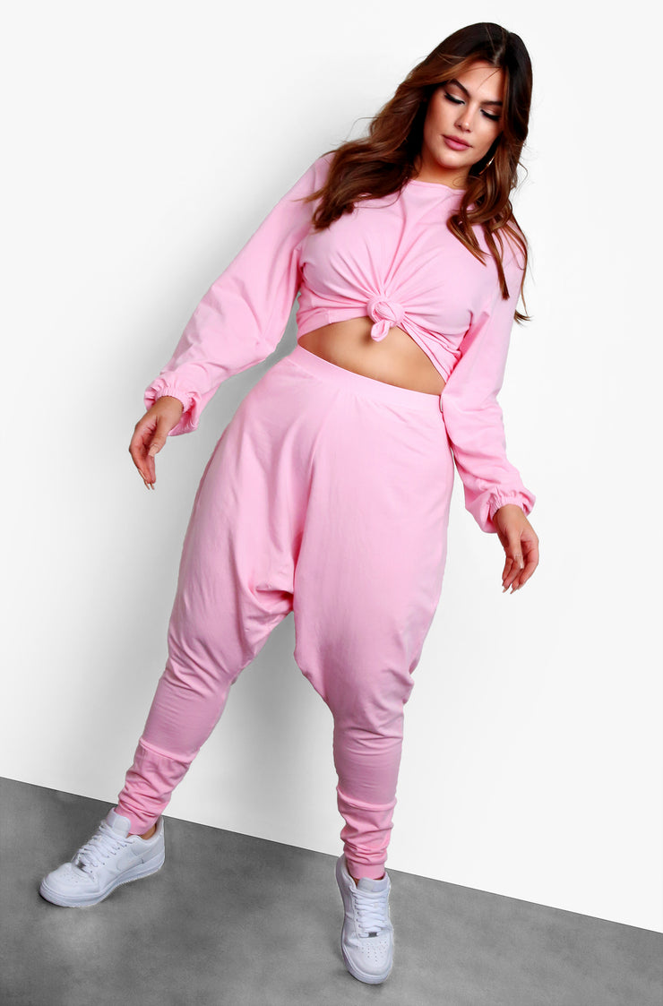 Pink Long Sleeve Top & Matching High Waisted Joggers Set