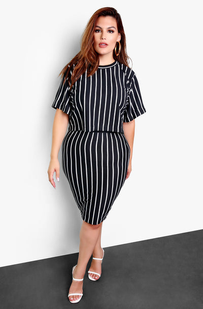 Black Stripe Mini Skirt Plus Sizes