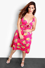 Fuchsia Front Tie Floral A-Line Midi Dress Plus Sizes