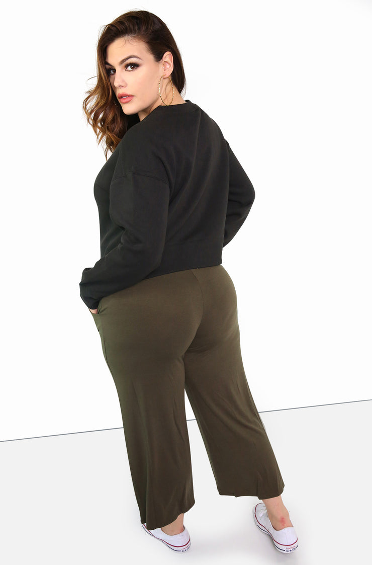 Black Cropped Crew Neck Sweatshirt Plus Size