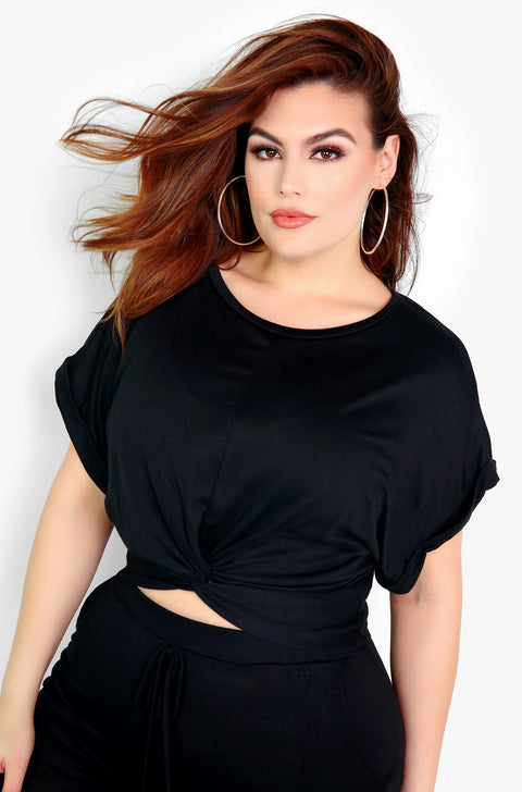 Black Knotted Short Sleeve Top Plus Size