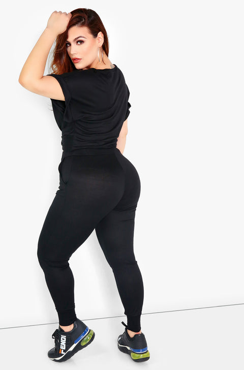 Black Joggers w. Pockets Plus Size