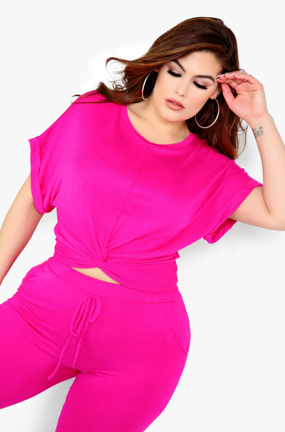 Hot pink Knotted Short Sleeve Top Plus Size