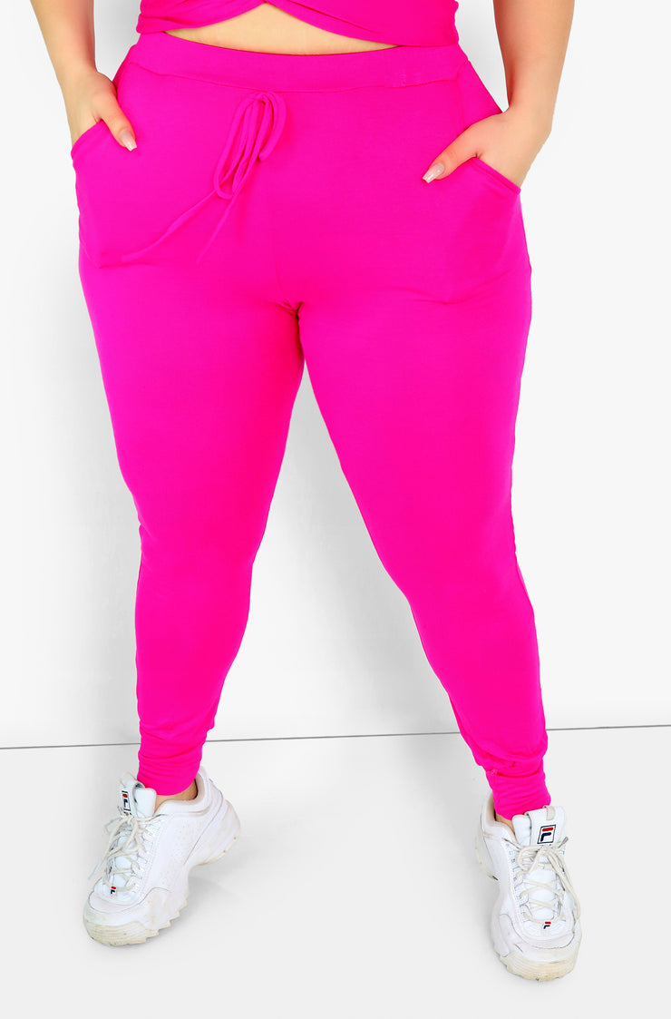 Hot Pink Joggers w. Pockets Plus Size