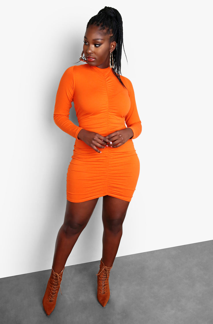 Burnt Orange Ruched Front Long Sleeve Bodycon Mini Dress Plus Size
