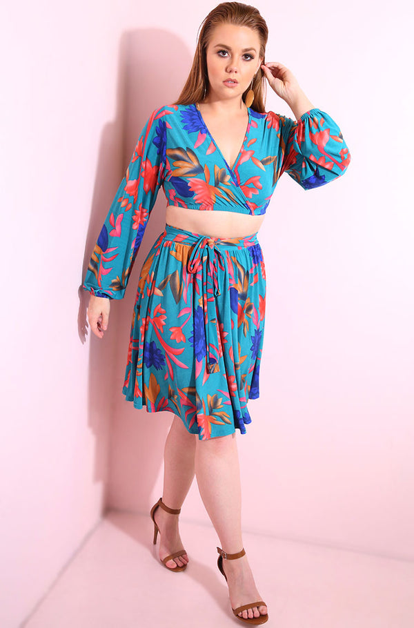 Floral puff sleeves, crossover blue crop top with matching skater skirt set plus sizes
