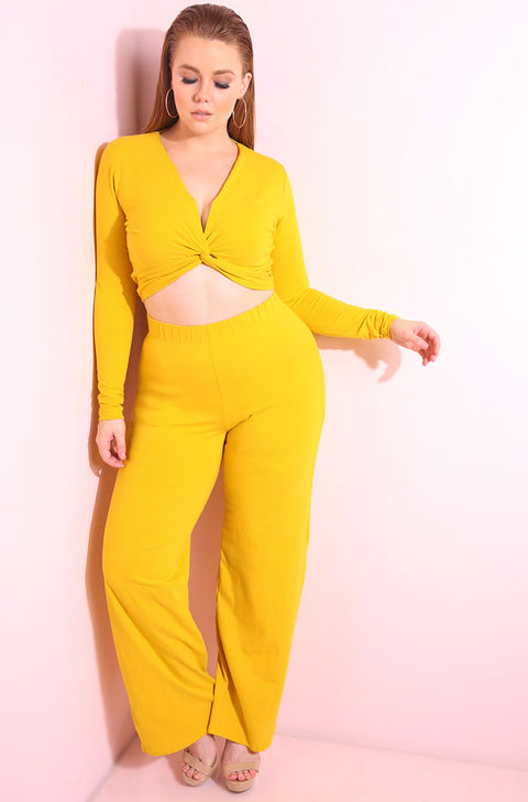 Mustard Knotted Crop Top & Wide Leg Pants Set Plus Sizes