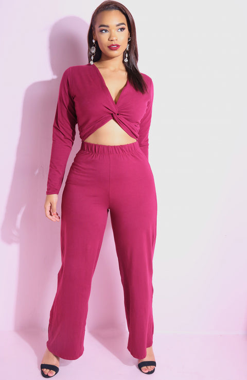 Burgundy Knotted Long Sleeve Crop Top plus sizes