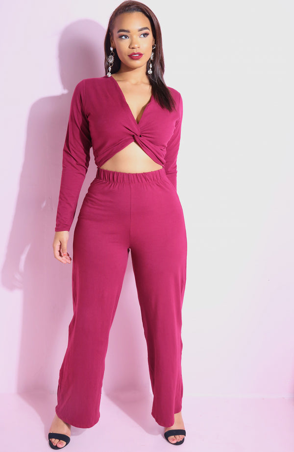 Burgundy Wide Leg Pants plus sizes