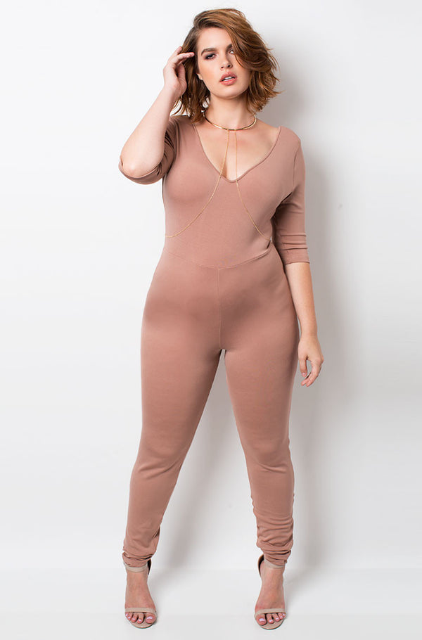Blushed Nude Catsuit plus sizes