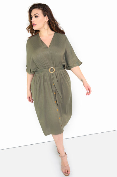 Olive A-Line Midi Dress w. Belt Plus Sizes