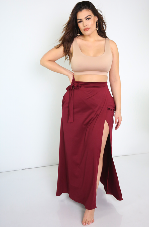 Burgundy Wrap Maxi Skirt With Pockets Plus Sizes