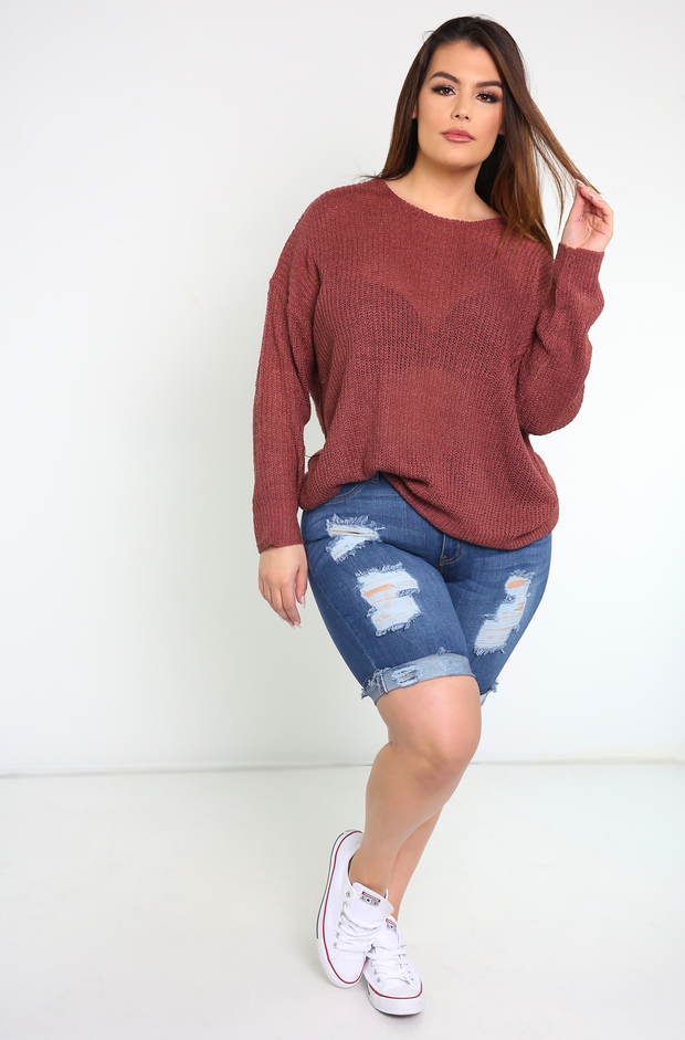 Rust Open Back Knit Sweatshirt Plus Sizes