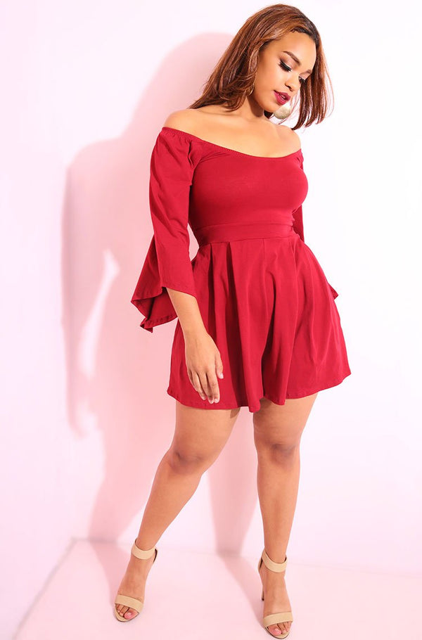 Burgundy Bell Sleeves Over The Shoulder Wide Leg Jumper plus sizes