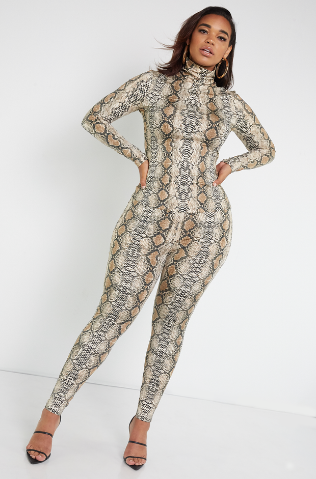 Brown High Waist Snake Print Leggings Plus Sizes