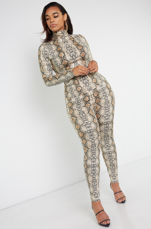 Brown Turtleneck Snake Print Top Plus Sizes