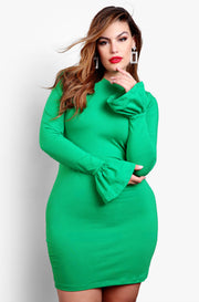 "Rebdolls ""Oh She Fancy"" Ruffled Long Sleeve Bodycon Mini Dress - Green"