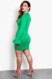 Green Plus Size Ruffled Long Sleeve Bodycon Mini Dress