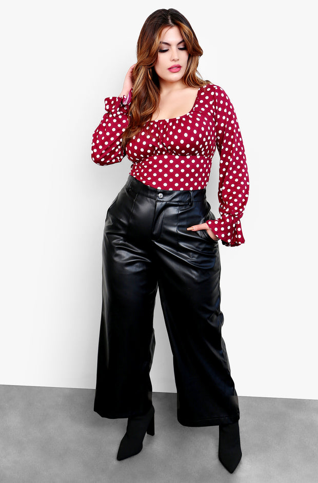 "Rebdolls ""Oh So Fresh"" High Waisted Faux Leather Wide Leg Pants with Pockets - Black"