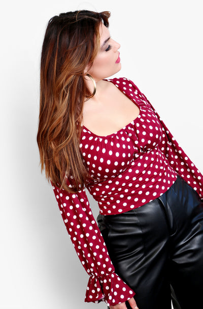 Burgundy Squared Neck Polka Dot Top