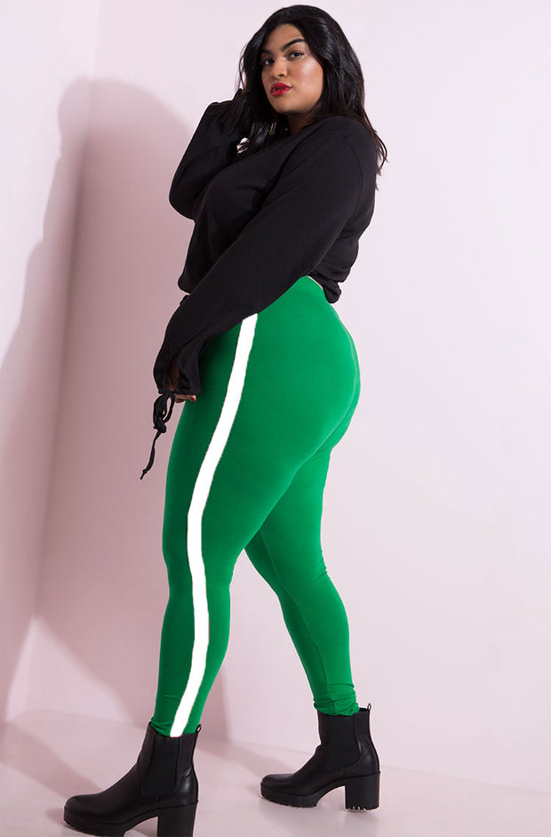Green One Stripe Leggings Plus Sizes