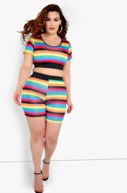 Multicolor Short Leggings Plus Sizes
