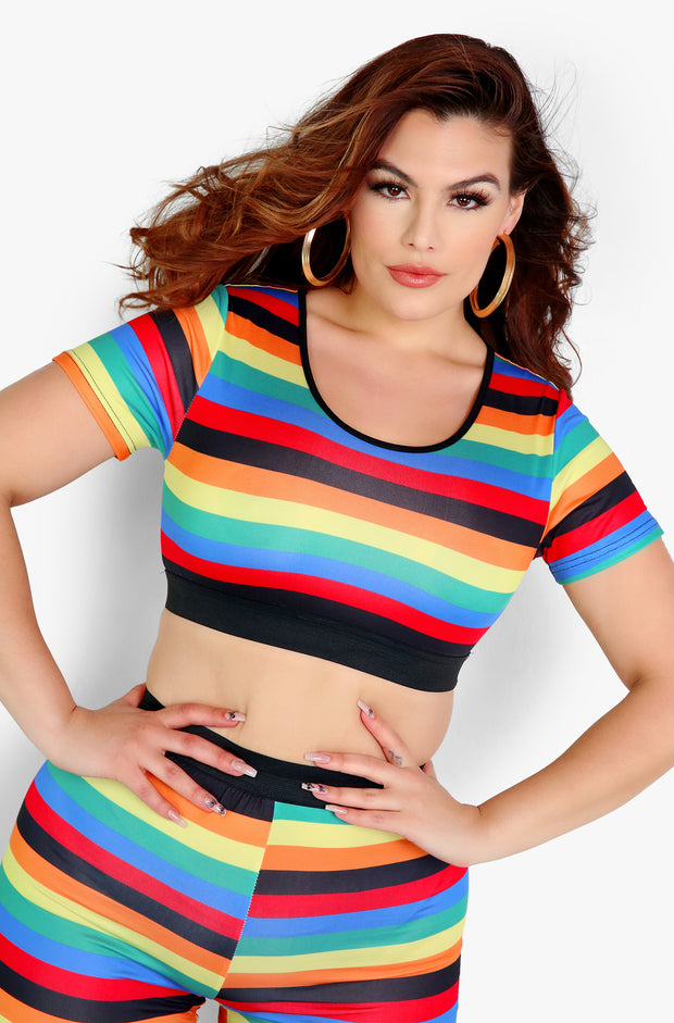 Multicolor Crop Top Plus Sizes