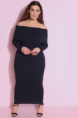 Black Ribbed Over The Shoulder Bodycon Maxi Dress Plus sizes
