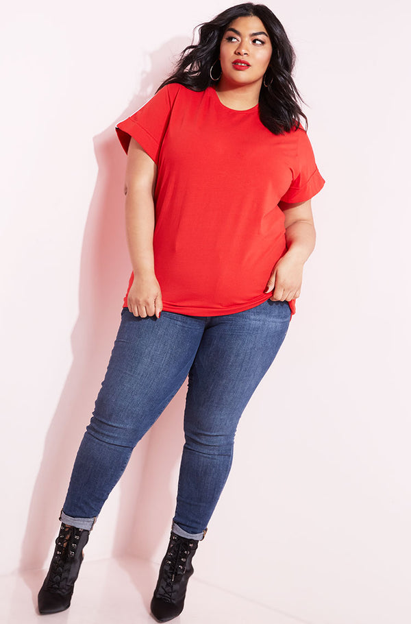 Red Striped Oversized Long Line Top plus sizes