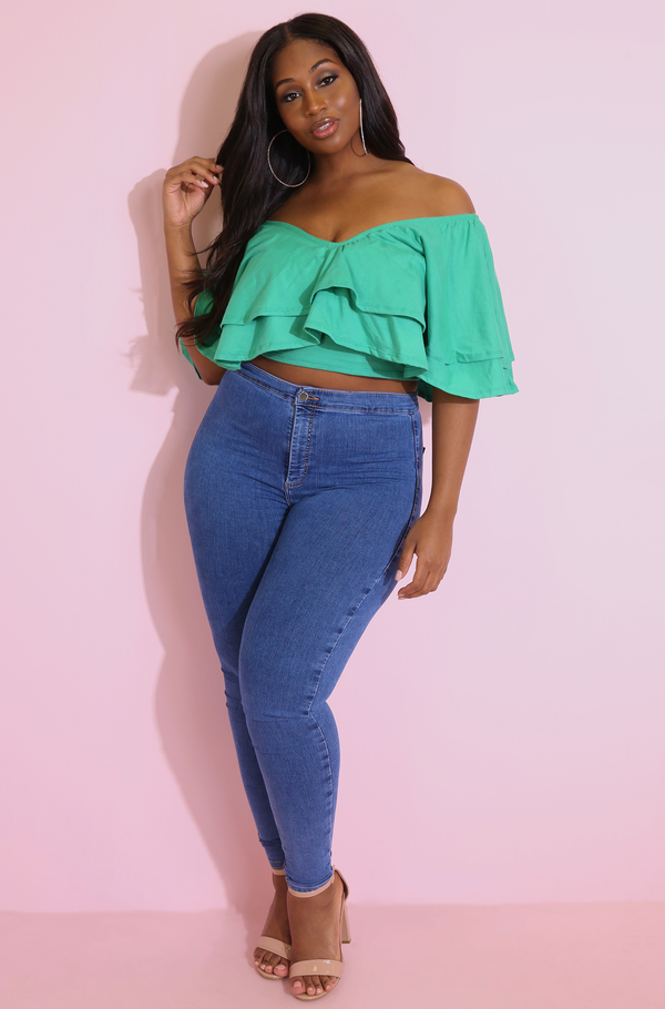 Green Double Ruffled Crop Top Plus Sizes