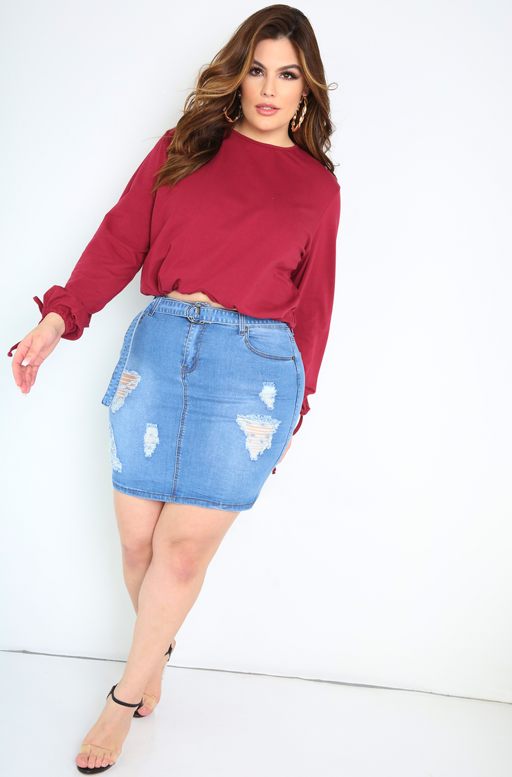 Blue Distressed Denim Skirt With Belt Plus Sizes