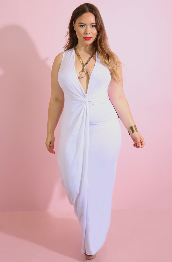 White Knotted Maxi Dress Plus Sizes