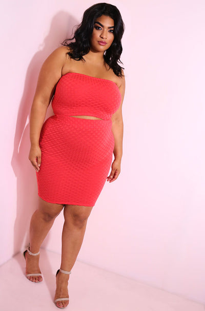 Coral Textured Two Piece Set plus sizes