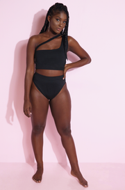 Black One Shoulder Caged Swim Top plus sizes