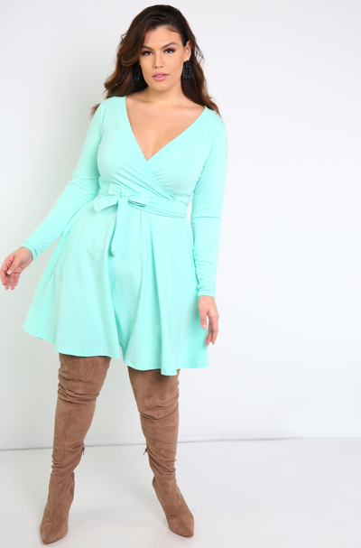 Mint Skater Mini Dress With Pockets Plus Sizes