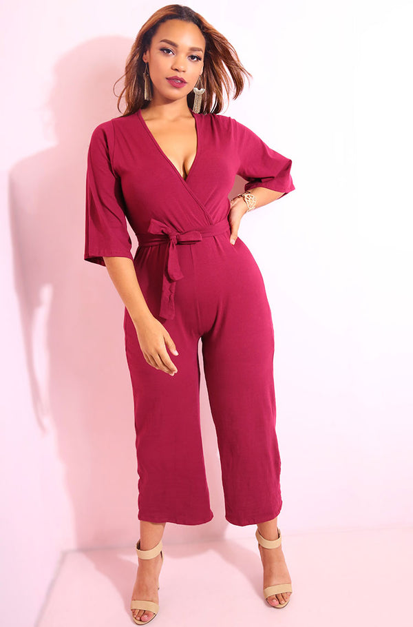 Burgundy Kimono Sleeves Culotte Jumpsuit plus sizes
