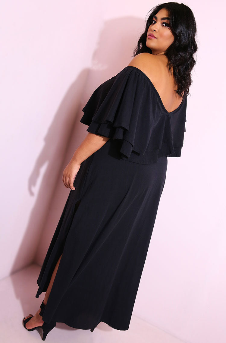 Black Ruffled Double Slit Maxi Dress Plus Sizes
