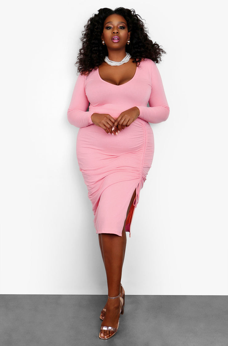 "Rebdolls ""On The Move"" Ruched V-Neck Long Sleeve Midi Dress"