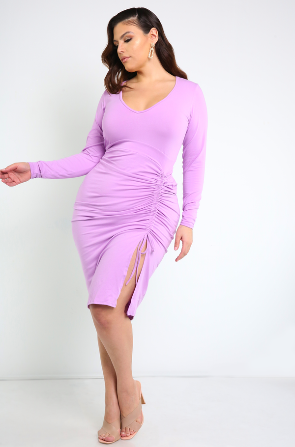 Lilac  V-Neck Ruched Midi Dress Plus Sizes