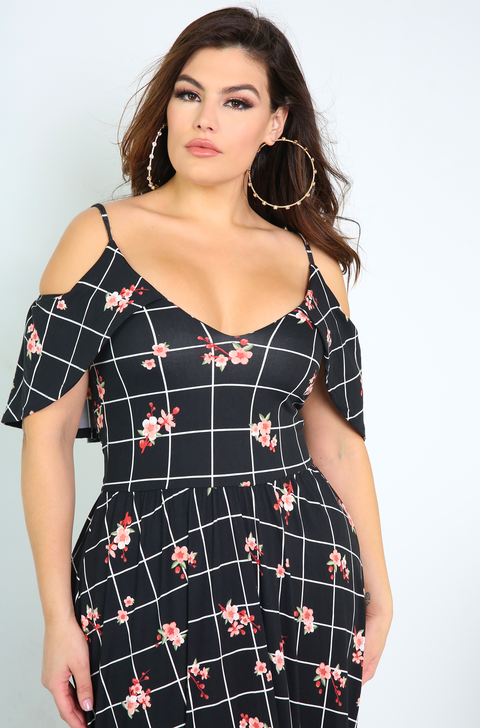 Black Flutter Sleeve Maxi Dress Plus Sizes