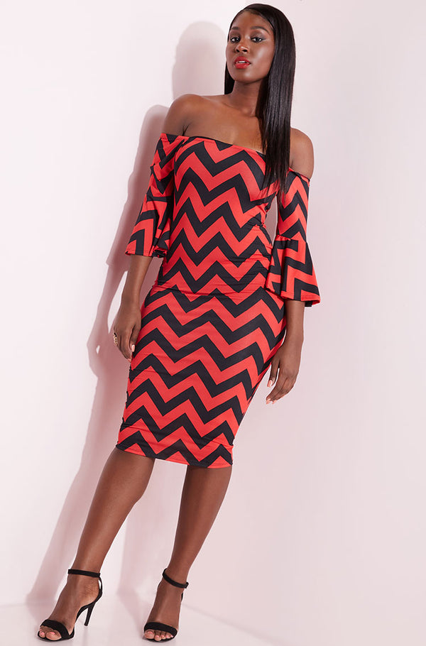 Red Bell Sleeve Chevron Midi Dress plus sizes