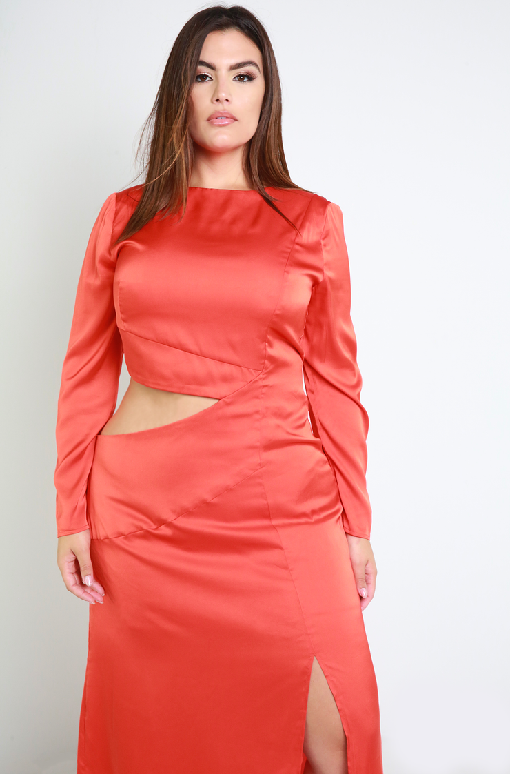Orange Cut-Out Satin Maxi Dress Plus Sizes