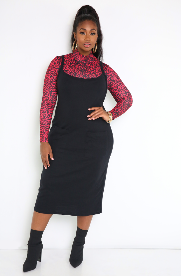 Black Cargo Shift Dress Plus Sizes