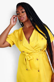 Chartreuse Trench Style Dress Plus Sizes