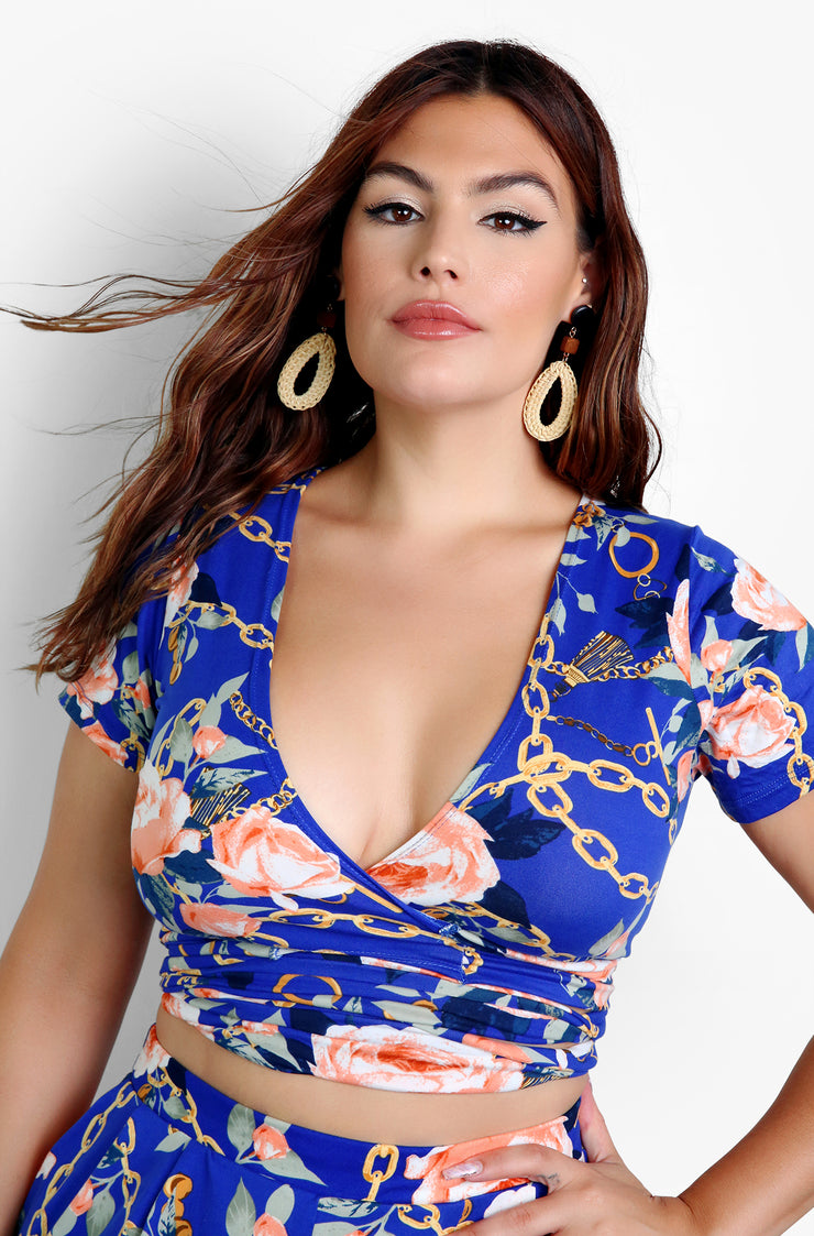 Royal Blue Wrap Around Crop Top Plus Size