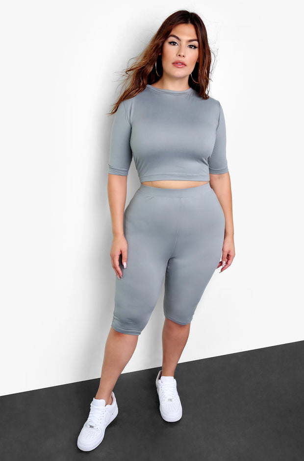 Gray Essential Biker Shorts Plus Sizes