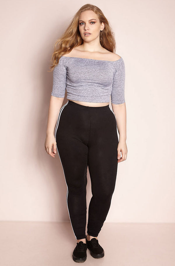 Black 2 Stripe Leggings Plus Sizes