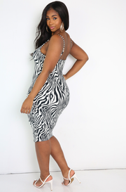 Black Zebra Print Bodycon Midi Dress Plus Sizes