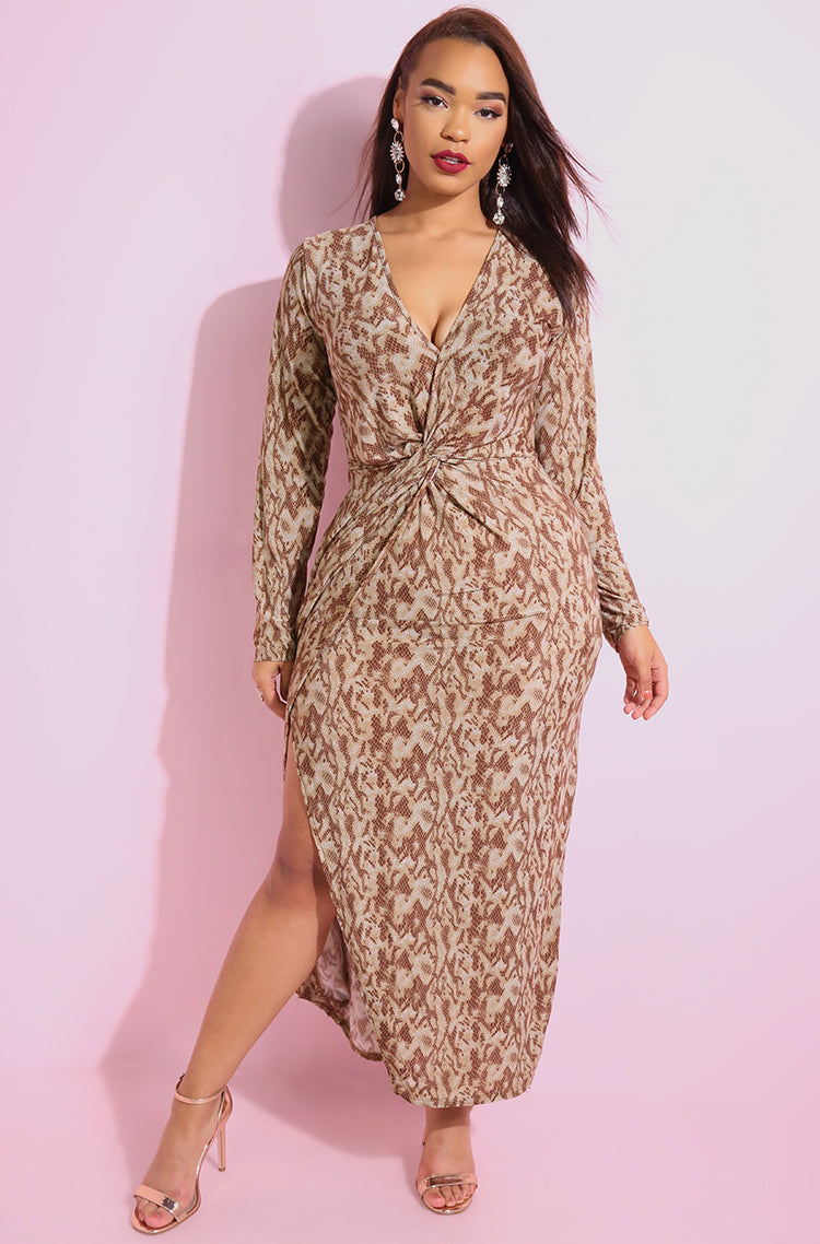 Brown Print Knotted Skater Maxi Dress plus sizes